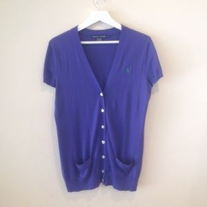 Ralph Lauren Purple Short Sleeve Cardigan
